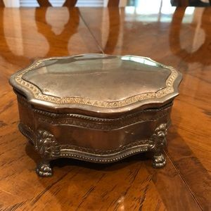 Vintage lion footed jewelry box